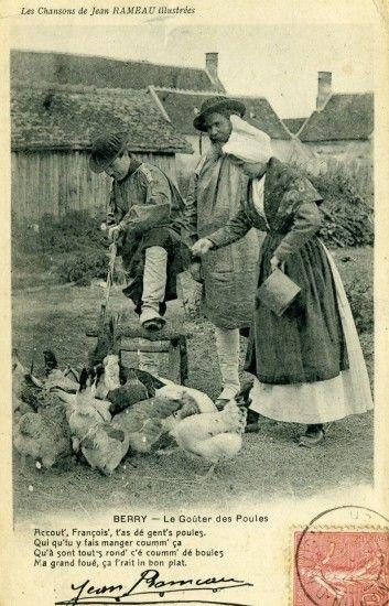 Carte postale rameau poules 1